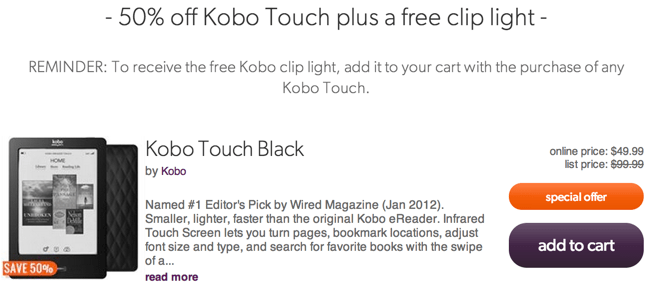 Kobo Touch Sale Chapters Indigo Black Friday