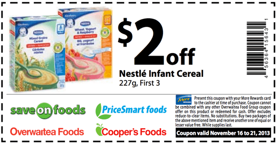 Nestle Infant Cereal Saving Coupon png