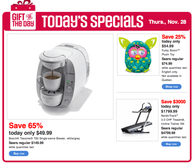 Sears Canada Black Friday 2013 One Day Deal