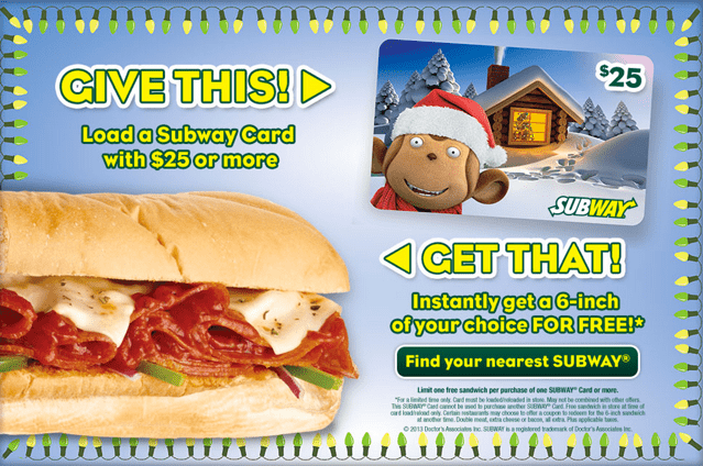 Subway Holiday Offers