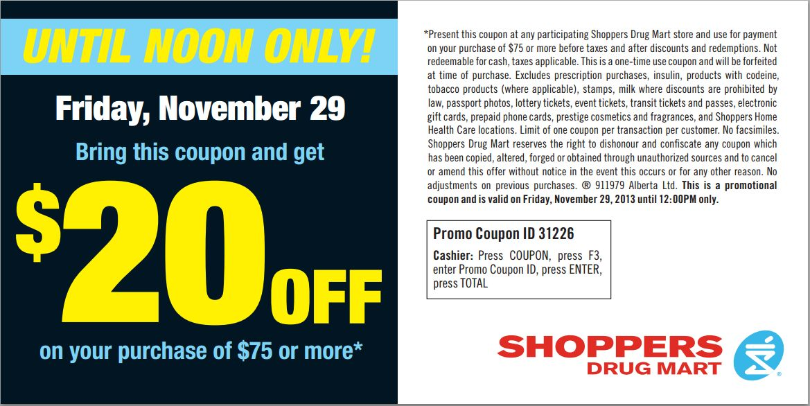 Shoppers Drug Mart Black Friday Flyer / Coupon 2013 Canada