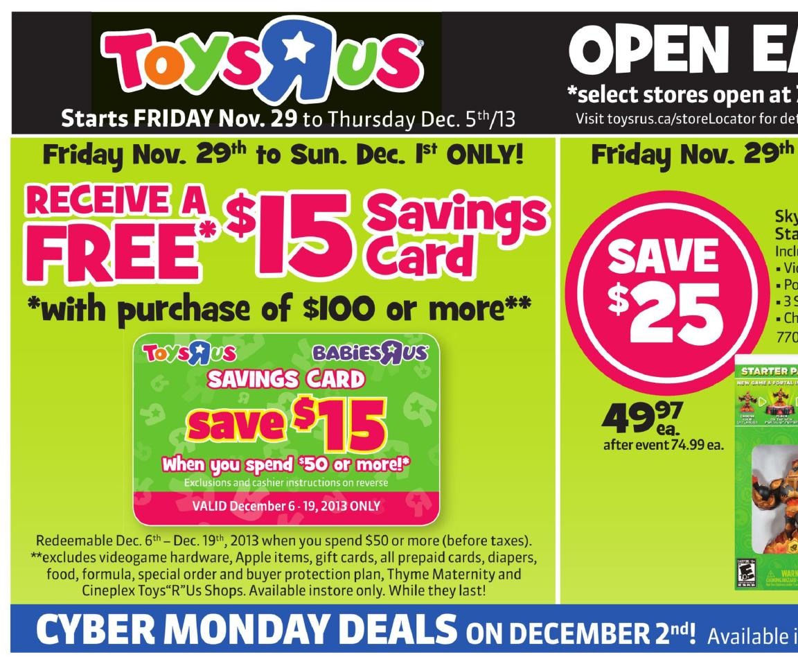 R Flyers sales at Toys R Us Canada