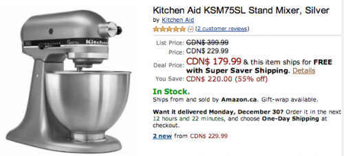 Amazon Ca Today Offers Save 55 On Kitchen Aid Ksm75sl