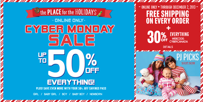 Children's Place Cyber Monday Canada 2013