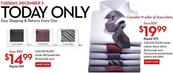 Hudson's Bay One Day Deal Calvin Clien Items