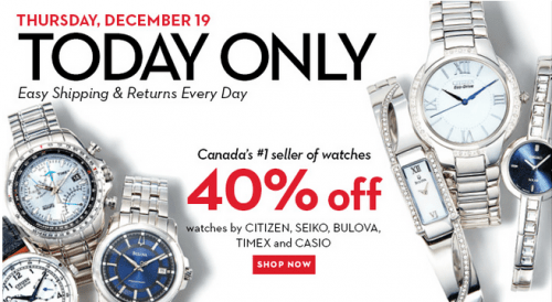53fd586aed437 Hudson's Bay Canada Today Deals: Save 40% On Selected Watches ...