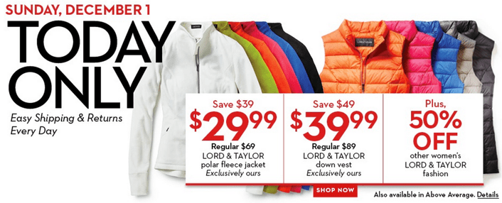 Hudson's Bay  Lord & Taylor jackets, vests deal of the day