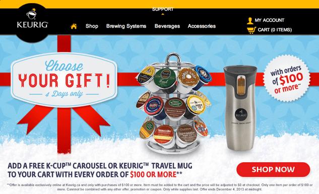Keurig Canada Cyber Monday 2013 Sales
