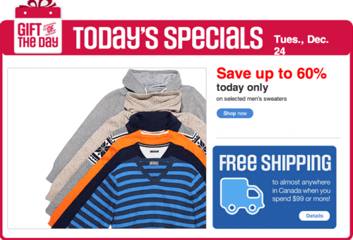 Men's sweaters at Sears Canada