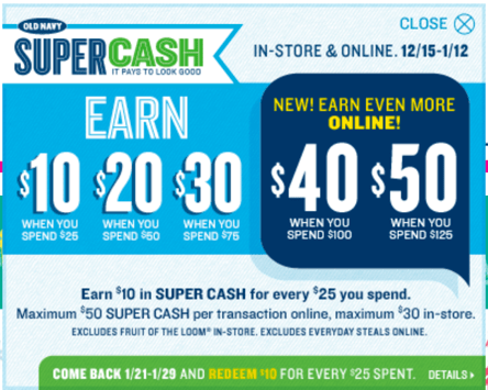 Any super cash that is not redeemed during the redemption period is forfeited. Valid online & in store, until February 6, Start shopping at Old Navy online.