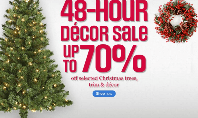 Sears canada 48 hour decor sale save up to 70 on for Christmas decoration deals