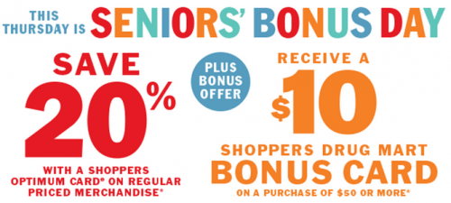 Shoppers Drug Mart Canada Senior's Day Offer