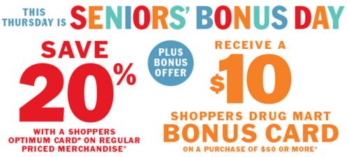 Shoppers Drug Mart Canada Senior's Day Offer
