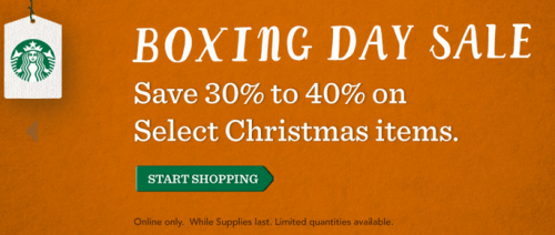 Starbucks Canada Boxing Day Offer