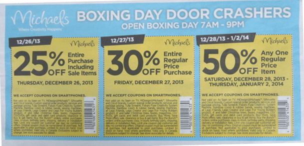 Michaels arts crafts store boxing day flyer sales for Coupons michaels arts and crafts