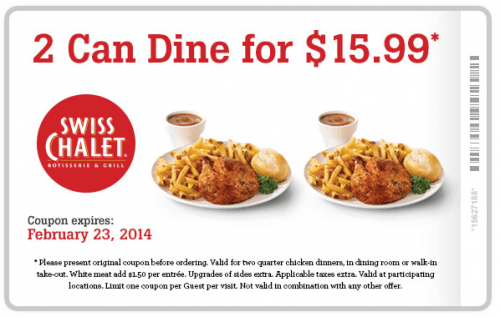 graphic regarding Sport Chalet Printable Coupon identify Swiss Chalet Canada Printable Discount codes: 2 Can Dine for $15.99