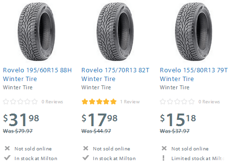 Walmart Canada Sale: Rovelo Winter Tires 15 Different ...