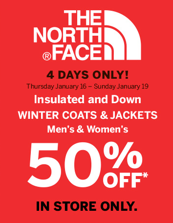 sporting life canada offers the north face 50 off jackets in store only canadian freebies. Black Bedroom Furniture Sets. Home Design Ideas