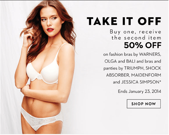 c84a7e06a6d1a Hudson s Bay Canada Offers  Women s Intimates Buy 1 Get 1 50% Off ...