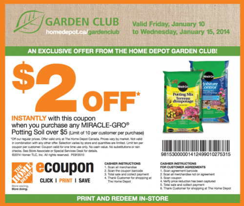 The Home Depot Garden Club Printable Coupons Save 2 When