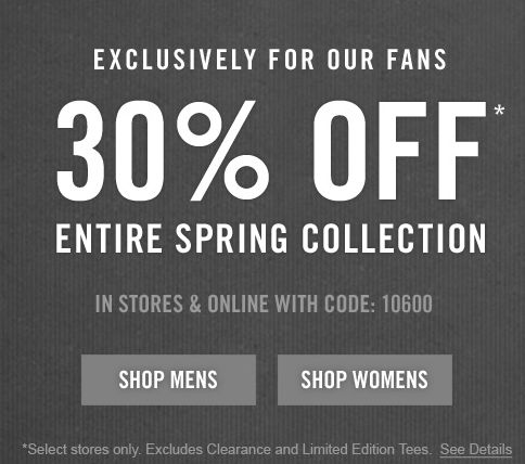 Abercrombie Canada: Take an extra 10% off orders $50+ or 30% off orders $150+