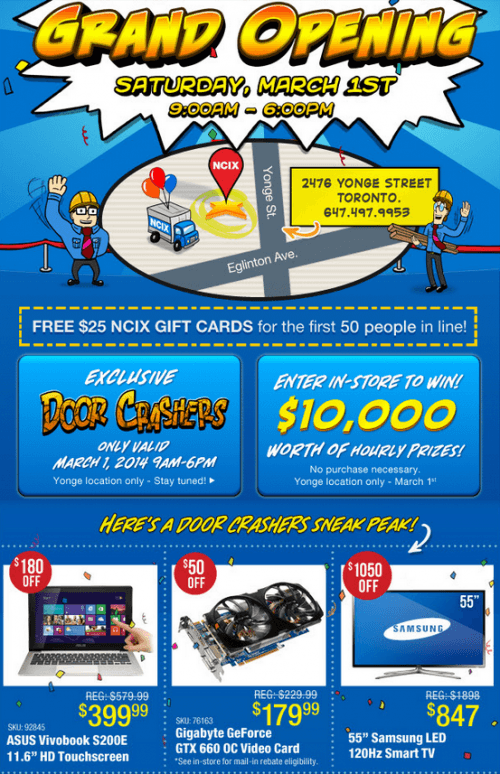NCIX Yonge St's Grand Opening Canada: FREE $25 for First 50