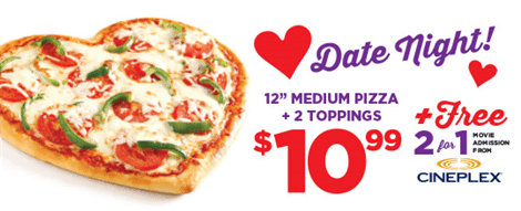 Pizza pizza canada offers medium pizza for only 10 99 free 2 for 1
