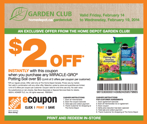 The Home Depot Canada Garden Club Coupons Save 2 On