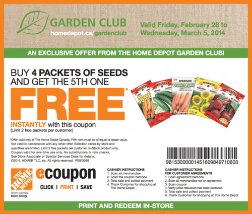 The Home Depot Canada Garden Club Coupons Buy 4 Packets Of Seeds Get The 5th One Free