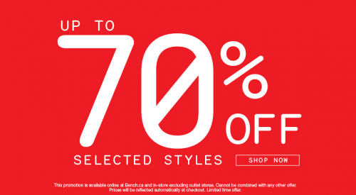 bench 70 percent off