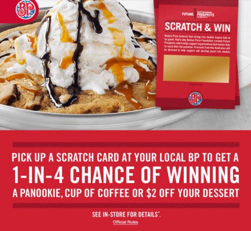 boston pizza scratch and win