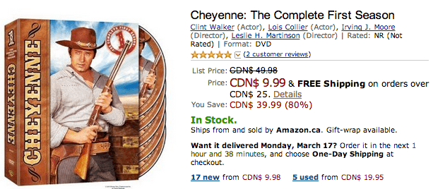 Amazon.ca Offers: Save 80% On Cheyenne: The Complete First Season & More | Canadian Freebies ...