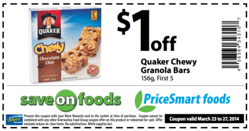 Quaker Chewy Granola Bars are on sale for $ at Target, down from $ Add a new 25% off Cartwheel offer.