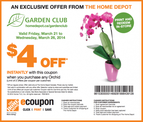 The Home Depot Canada Garden Club Coupons Save 4 When You Purchase Any Orchid Canadian