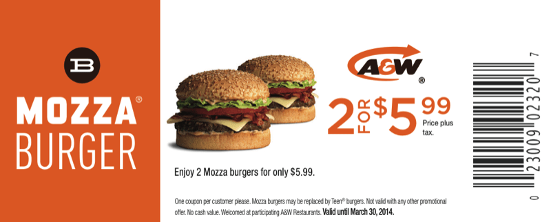Coupons are available from Monday, October 29 until Sunday, November 4, Show your coupon on the app. The coupon offers are valid in participating KFC restaurants only. KFC Canada Menu Offers Limit of 1 coupon per customer per transaction. A&W Canada Coupons – Take Mama Burger for $, 2 Teen Burger Combos for $, and much more.