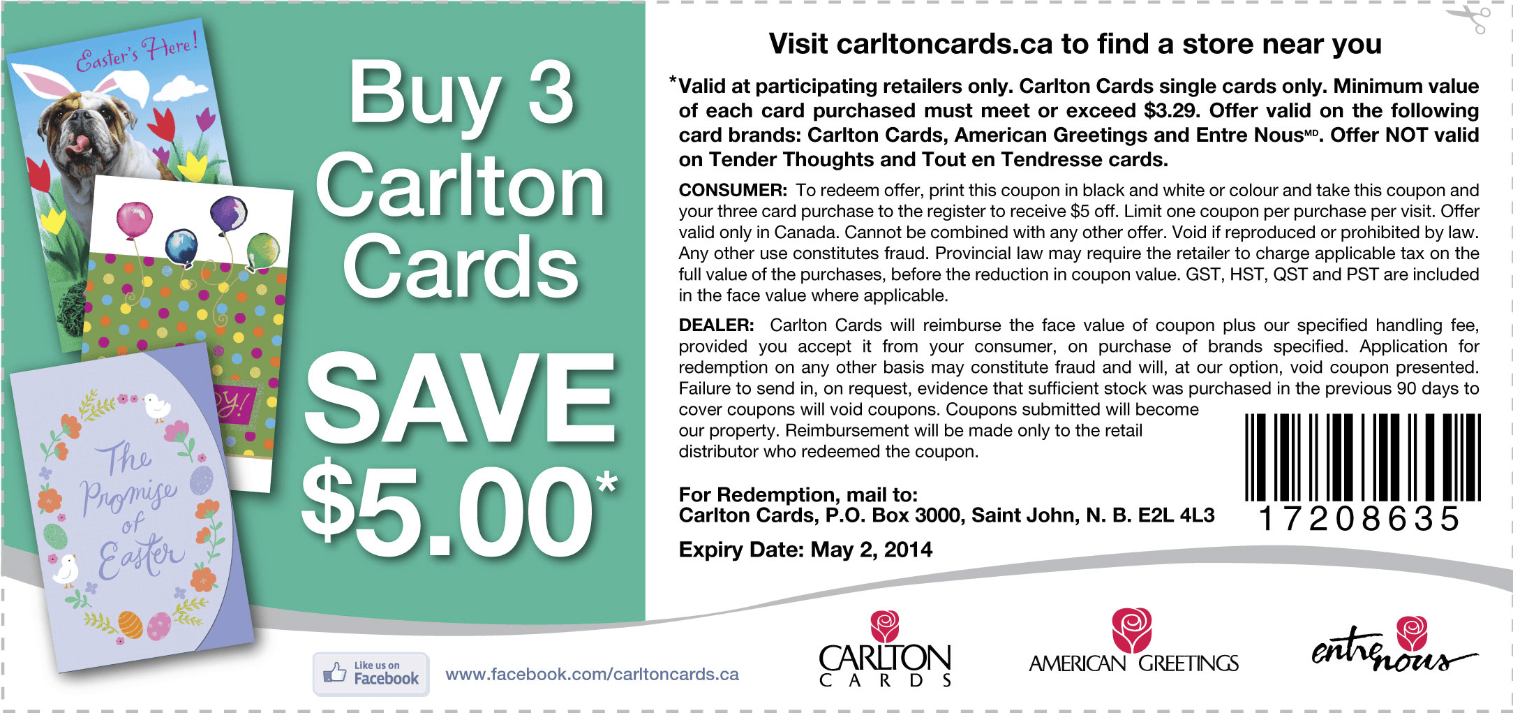 Carlton cards canada coupons but 3 cards save 5 canadian carlton cards coupon kristyandbryce Choice Image