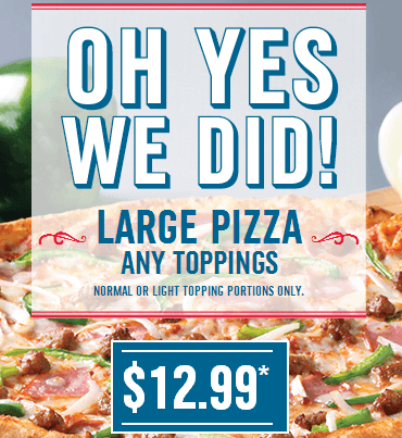 domino pizza large any toppings only $12.99