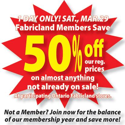 fabricland prices with Fabricland Ontario Canada Sale Save 50 Off Regular Prices On March 29th on Indigo Fabric furthermore Marshall Fabrics 12514296 likewise Upholstery Foam likewise 20 Below Planning A Cloth Napkin Diy further Fabricville.
