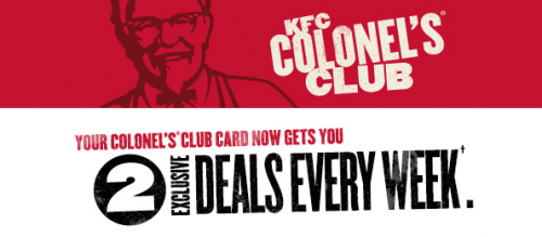 The Colonel's ® club Savings that will make you want to grab a second helping! The Colonel's ® Club is your ticket to exclusive weekly offers from KFC ®.