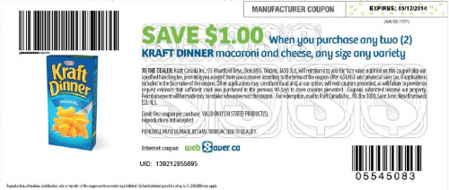 picture regarding Kraft Coupons Printable named No Frills Canada Freebie: Cost-free Kraft Evening meal Having Printable