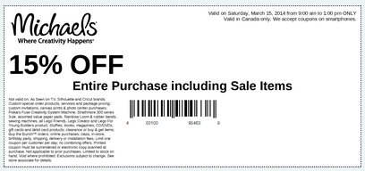 michaels canada save 15 saturday march 15