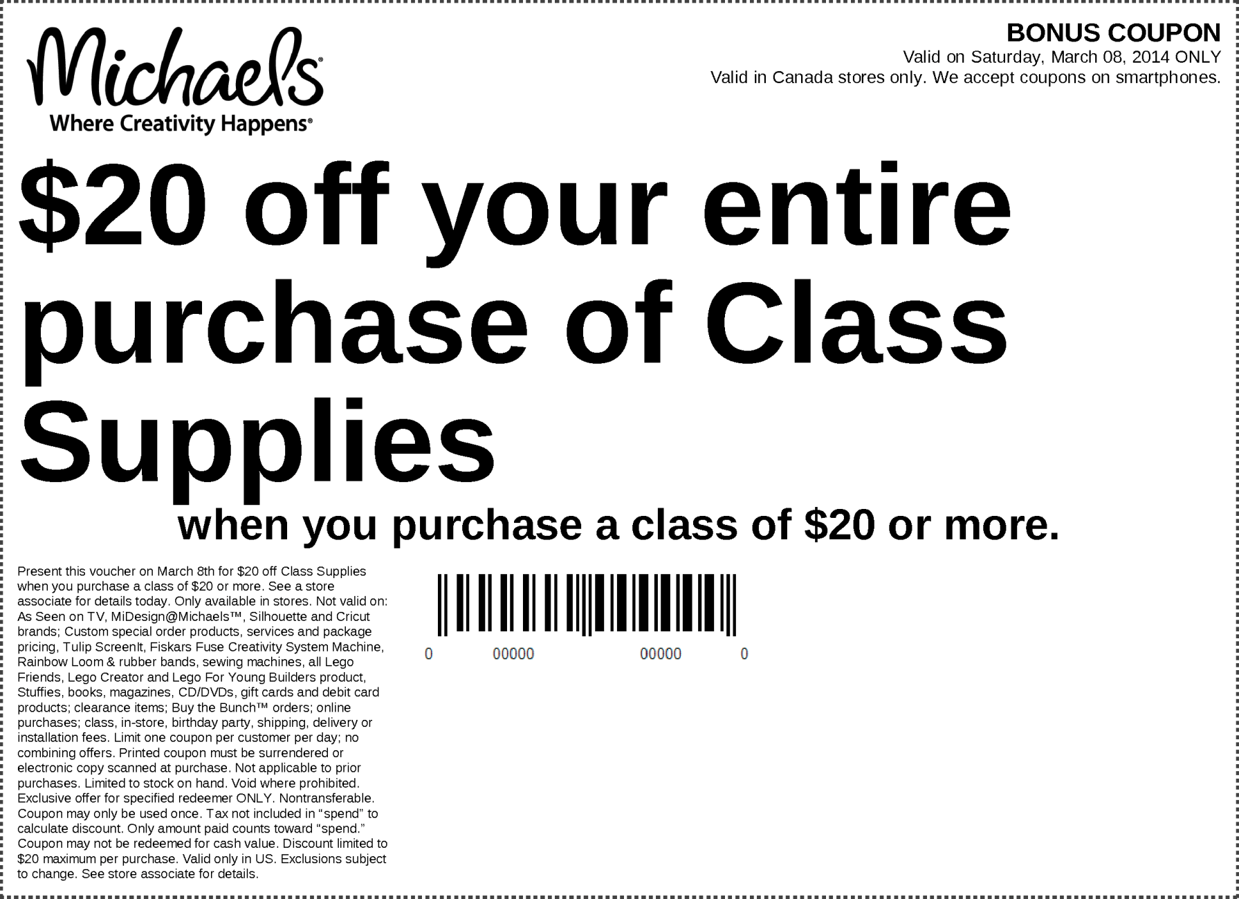 Current Michaels Printable Coupons 2014