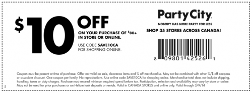 Party City Canada Printable Coupon/ Coupon Code: $10 Off Any