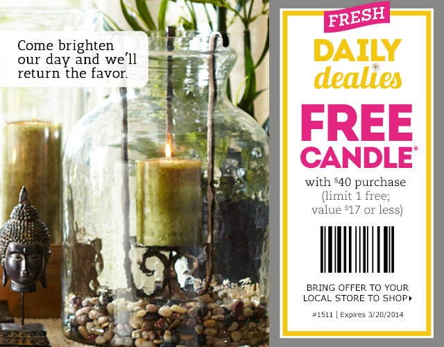 pier 1 imports free candle. Pier 1 Imports Canada Printable Coupons  FREE Candle With  40
