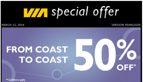 via 50 off special offer