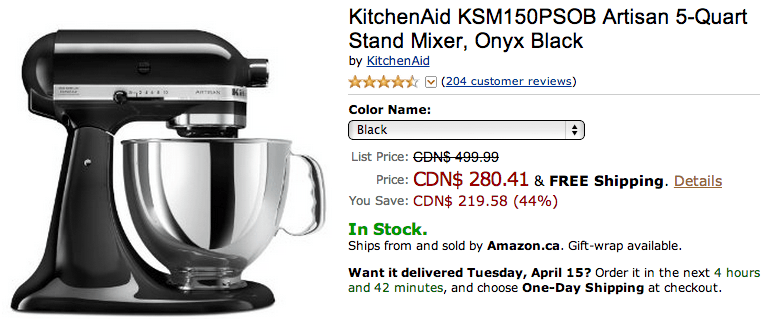 offers save 44 on kitchenaid ksm150psob artisan 5 quart stand mixer onyx black. Black Bedroom Furniture Sets. Home Design Ideas