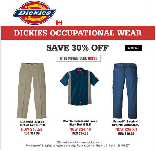 Dickies Promo Codes & Cyber Monday Deals for November, Save with 4 active Dickies promo codes, coupons, and free shipping deals. 🔥 Today's Top Deal: Get $5 Off Any Purchase. On average, shoppers save $25 using Dickies coupons from livewarext.cf