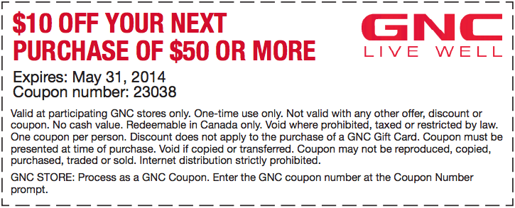 graphic about Gnc Printable Coupons 10 Off 50 referred to as GNC Stay Effectively Canada: $10 Off Your Subsequent Acquire of $50 Or