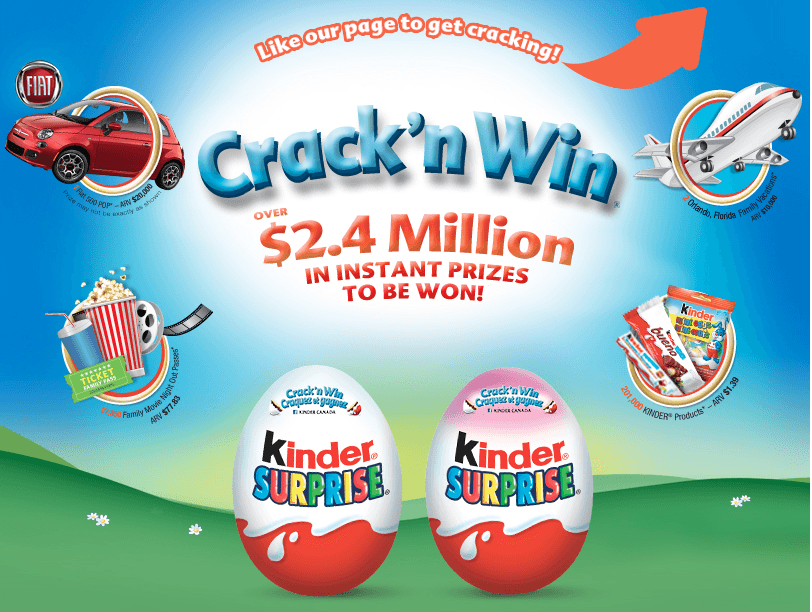 Kinder Canada Crack and Win Contest: Instant Win a Fiat 500