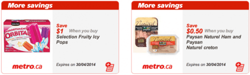 Metro Quebec Canada Printable  Coupons